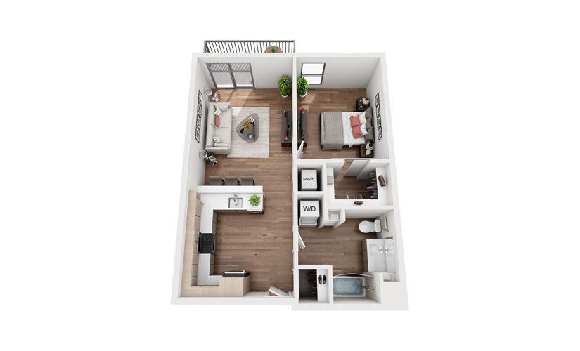 A1A 1 Bedroom 1 Bath Floor Plan