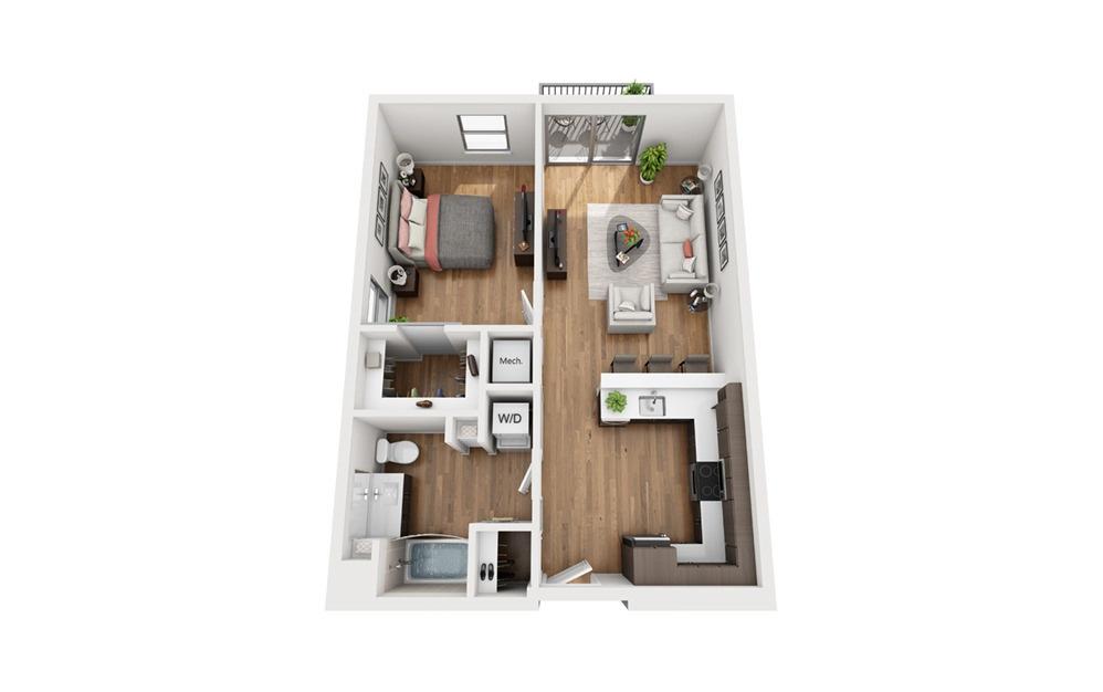 A1c 1 Bedroom 1 Bath Floor Plan