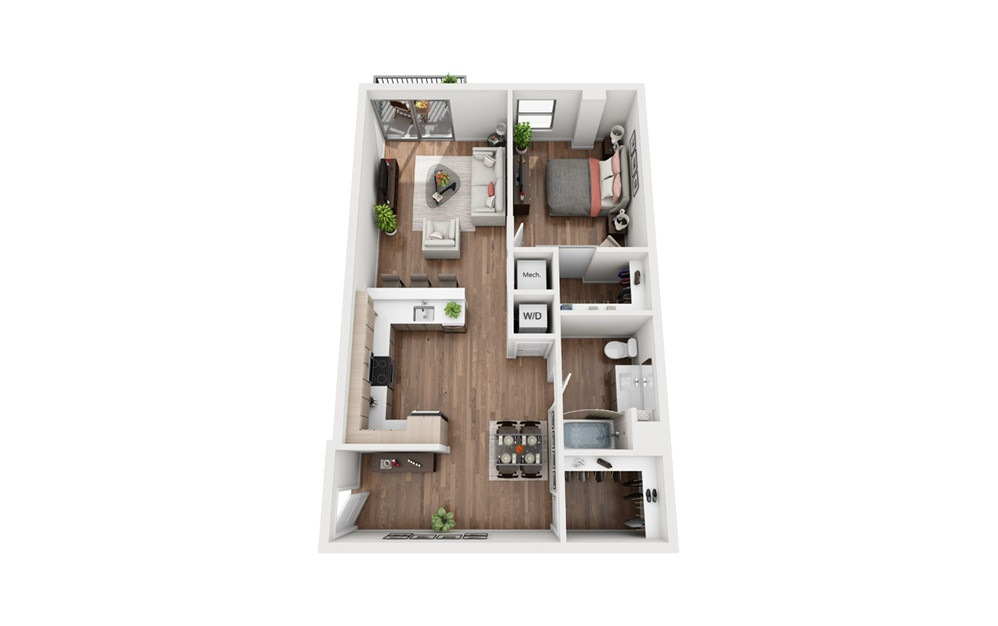 A1A 1 Bedroom 1 Bath Floor Plan