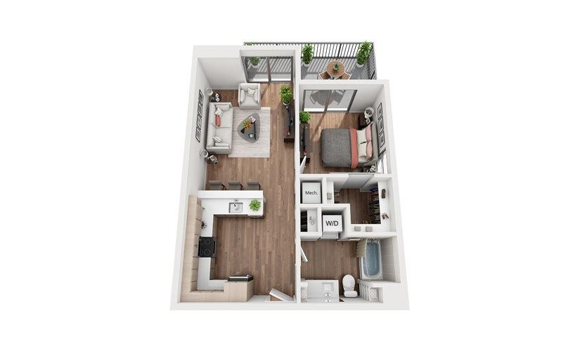 A2a 1 Bedroom 1 Bath Floor Plan