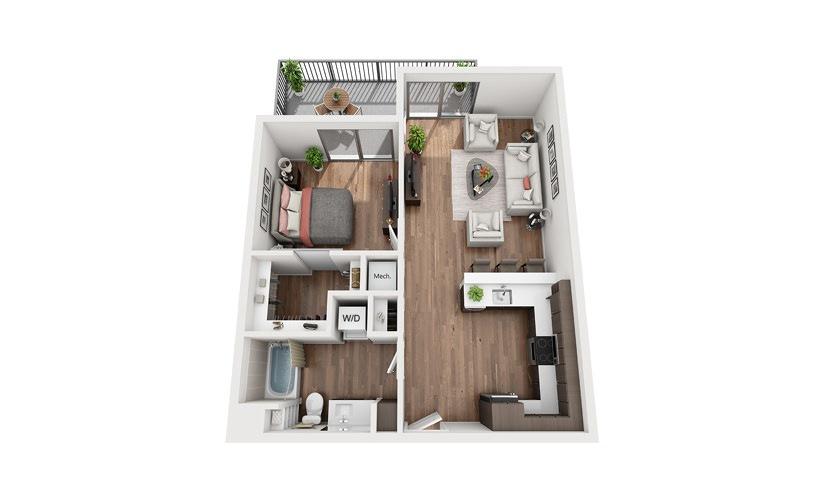 A2b 1 Bedroom 1 Bath Floor Plan