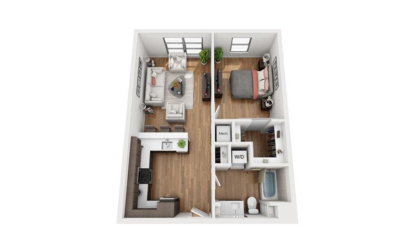 A2c 1 Bedroom 1 Bath Floor Plan