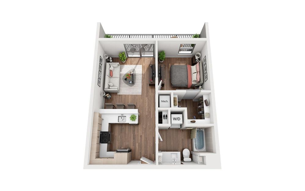 A3 1 Bedroom 1 Bath Floor Plan