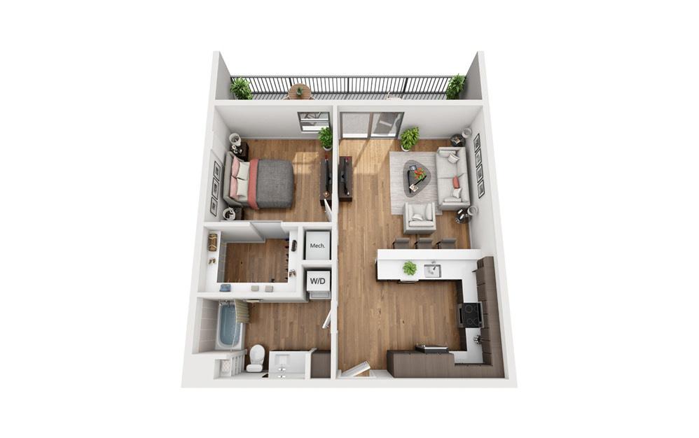 A4a 1 Bedroom 1 Bath Floor Plan