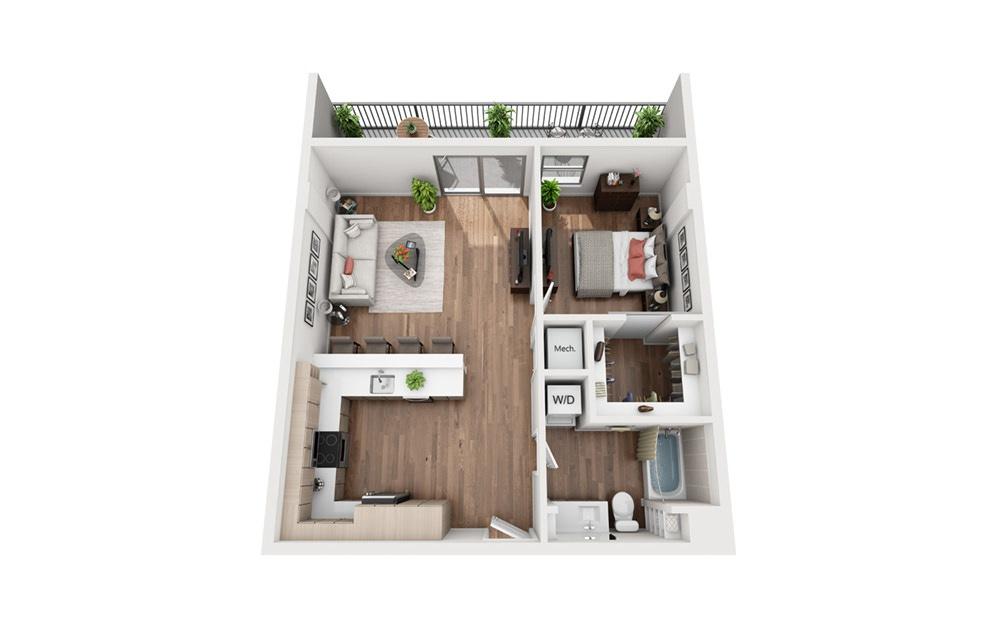 A4b 1 Bedroom 1 Bath Floor Plan
