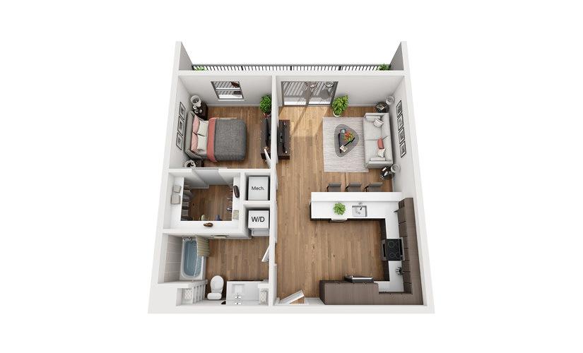 A4c 1 Bedroom 1 Bath Floor Plan