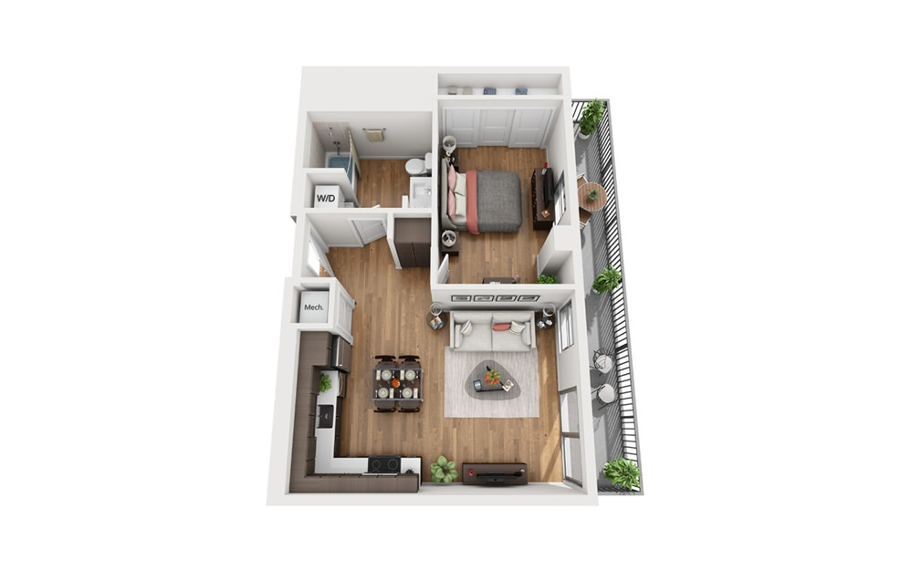 A5 1 Bedroom 1 Bath Floor Plan