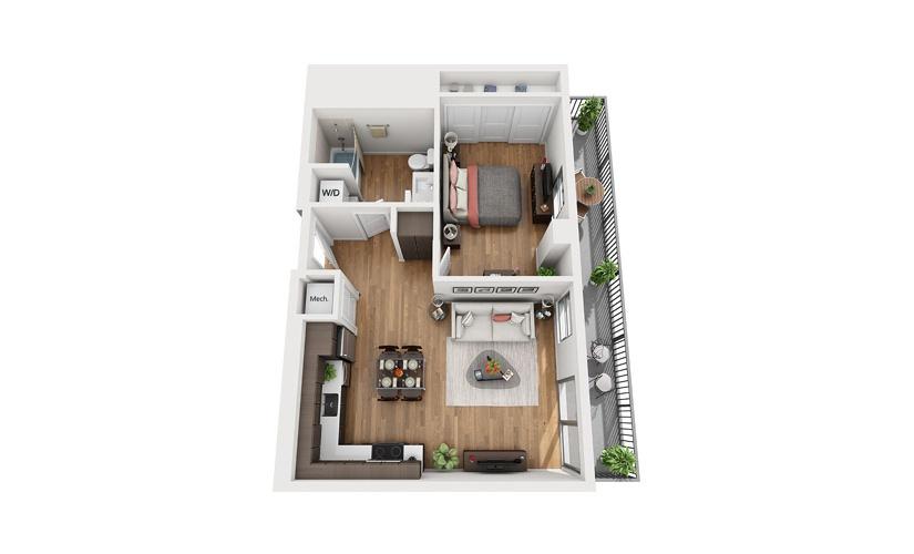 A5 1 Bedroom 1 Bath Floor Plan