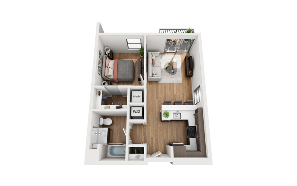 A6a 1 Bedroom 1 Bath Floor Plan