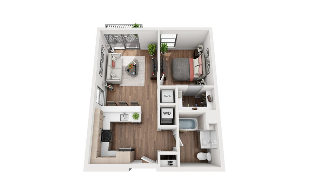A6b 1 Bedroom 1 Bath Floor Plan