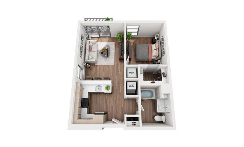 A6b 1 Bedroom 1 Bath Floor Plan