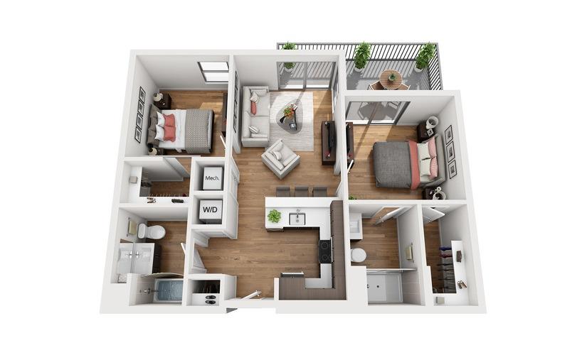 B1a 2 Bedroom 2 Bath Floor Plan