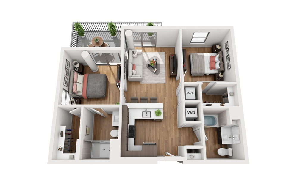 B1b 2 Bedroom 2 Bath Floor Plan