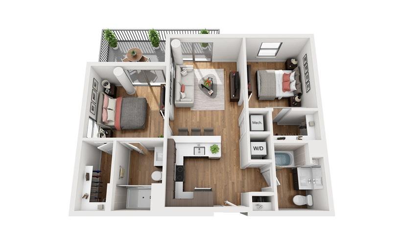 B1b 2 Bedroom 2 Bath Floor Plan