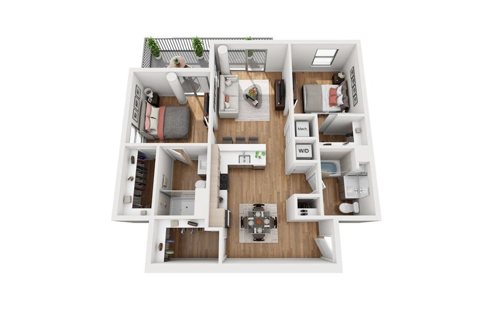 B1c 2 Bedroom 2 Bath Floor Plan