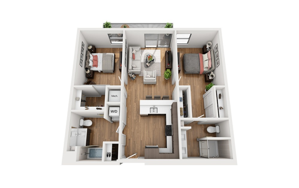 B2a 2 Bedroom 2 Bath Floor Plan