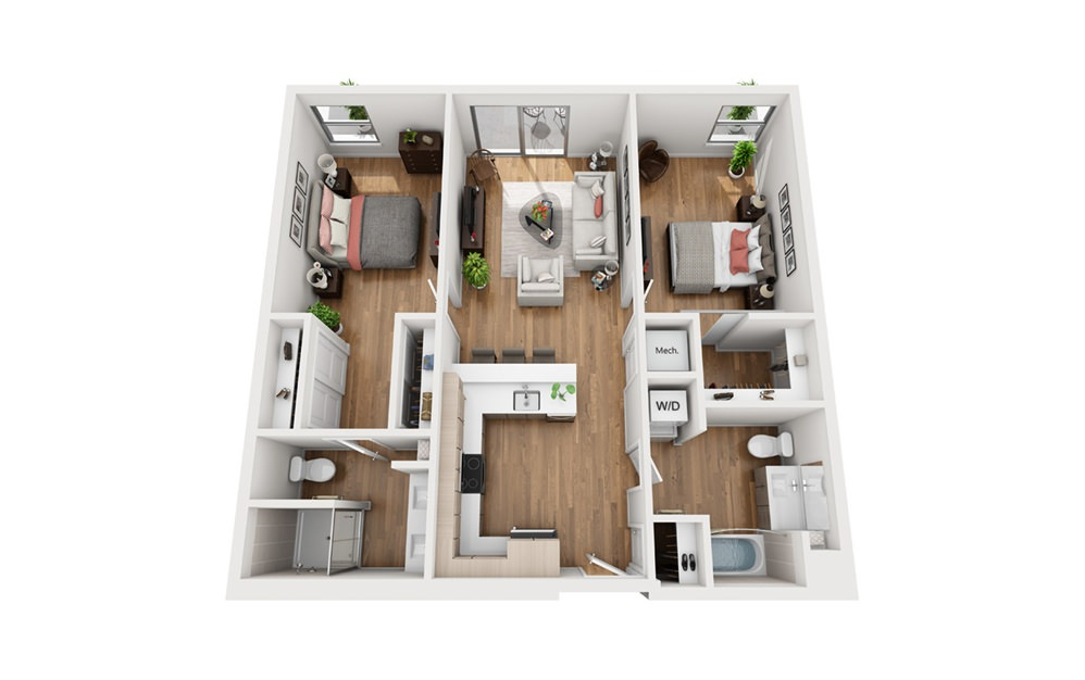 B2b 2 Bedroom 2 Bath Floor Plan