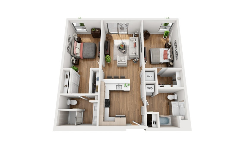 B2b 2 Bedroom 2 Bath Floor Plan