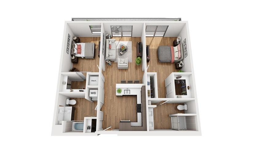B2c 2 Bedroom 2 Bath Floor Plan