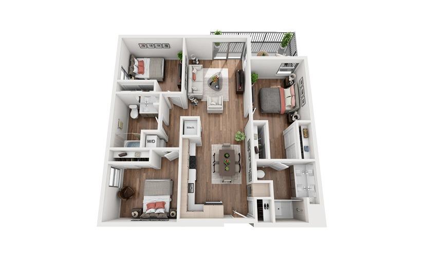C1 3 Bedroom 2 Bath Floor Plan