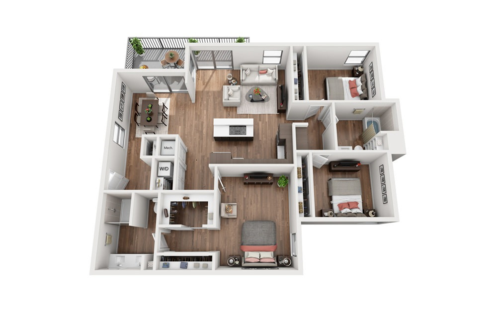 C2 3 Bedroom 2 Bath Floor Plan