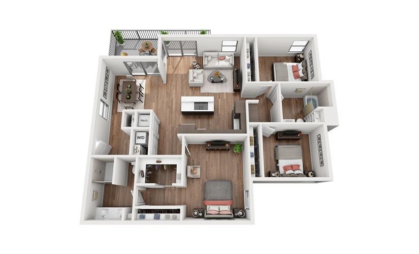 C2 3 Bedroom 2 Bath Floor Plan