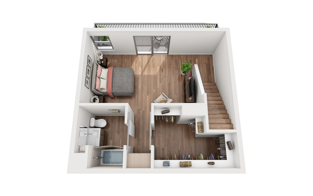 TH1 1 Bedroom 2 Bath Floor Plan
