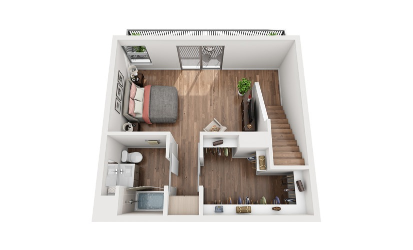 TH1 1 Bedroom 2 Bath Floor Plan